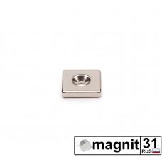 Магнит пластина с зенковкой 12xd12х6 мм. сила 3,9 кг.