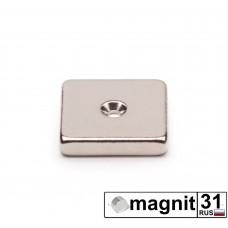 Магнит пластина с зенковкой 20xd20x3 мм. сила 4 кг.