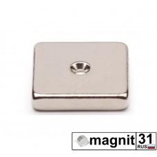 Магнит пластина с зенковкой 35xd35x6 мм. сила 10 кг.
