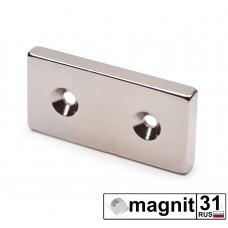 Магнит пластина с зенковкой 50xd25x6 мм. сила 10 кг.