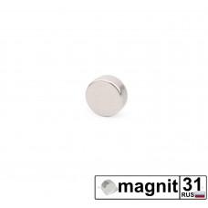 Магнит диск D5x2 мм. сила 0,4 кг.