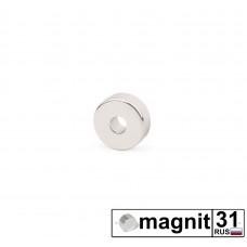 Магнит кольцо К10xd3x3 мм. сила 1,3 кг.